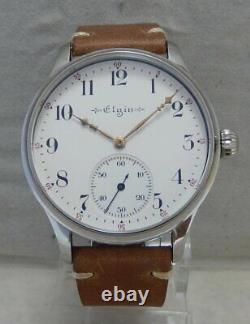 Elgin 12s Pocket Marriage Watch Conversion 44mm SS Wrist Watch 1914 Movement