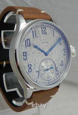 Elgin 12s Pocket Marriage Watch Conversion 44mm SS Wrist Watch 1917 Movement