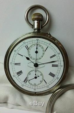 English Watch Co. Chrono-Micrometer Silver Pocket Watch Movement #4164 2605