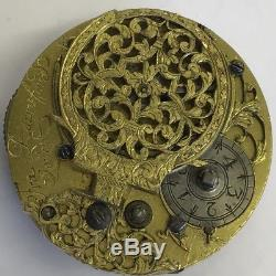 Fine Antique C1740 Verge Pocket Watch Movement Fra Raynsford London 4cm Rare