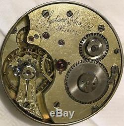Glashutte pocket watch movement & enamel dial 42 mm. Stem to 3