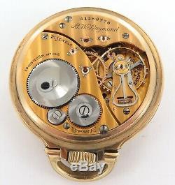 Gold Flash Movement / 1943 Elgin B W Raymond 16s 21j 5 Adj 10k G. F. Pocket Watch