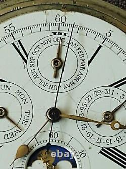 Grand Complications Pocket Watch 1/4 Repeater Chronograph Calendar Moon Phase