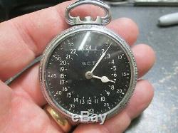 HAMILTON 21J WWII MILITARY US ARMY AIR CORPS 4992B MOVEMENT Pocket Watch 52mm