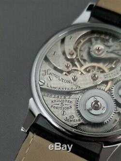 Hamilton 900 Wristwatch. 19 jewels. Pocket watch movement conversion. R