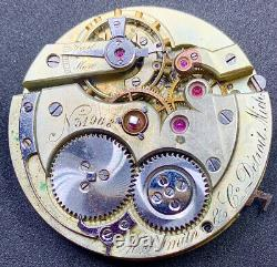 High Grade Wolf Tooth Pocket Watch Movement MS Smith Detroit Snap On Dial F4060