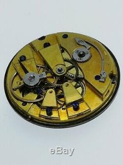 High Quality Swiss Cylinder Pocket Watch Movement, Silver Dial, Gold Hands (BT2)