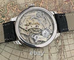 High grade CH MEYLAN Split Second pocket watch movement in new ss Marriage case