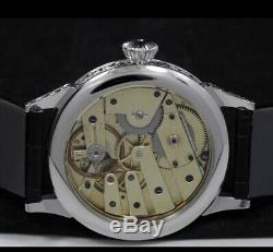 High grade patek philippe pocket watch movement in new ss engrave case