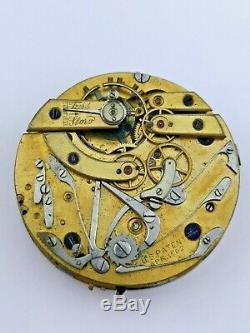 Huguenin Patent Repeating Chronograph Pocket Watch Movement for Repair (F66)