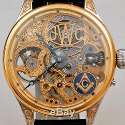 IWC Schaffhausen MASONIC Maxi Skeleton Hand-Engraved Movement Pocket Watch 1895s