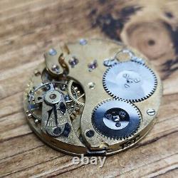 IWC Vintage Pocket Watch Movement for Repair, Rare Dial, Broken Balance (E97)