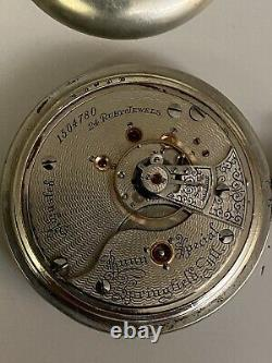 Illinois 24 Jewel Pocket Watch Hunter Case Movement Gothic Dial 18 Size Case