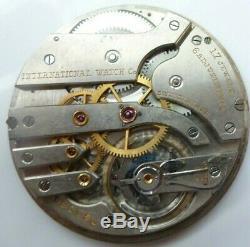 International Watch Co. IWC Caliber 77 Pocket Watch Movement Running Condition