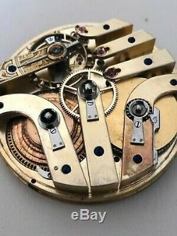 J. Calame Robert High Grade Detent Escapement Fusee Pocket Watch Movement