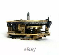 J. Tarts, London Antique Verge Fusee Pocket Watch Movement Repousse