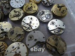 Job Lot Of 35 Antique Pocket Watch Movements