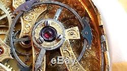 Key wind Chinese Duplex Bat-Wing Pocket Watch Movement. 56 mm. Diameter. Runs
