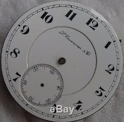 L. Curvoisier & Co. Chronometer Pocket Watch movement & enamel dial stem to 12