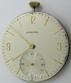 Longines 17LU 18.95M 17 jewels adj. Pocket Watch movement & metallic dial. OF