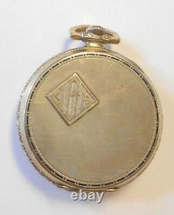 Longines White Gold Plated Open Face Pocket Watch 17J 3800764 3 Finger Movement