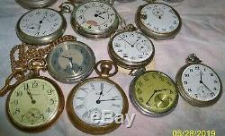 Lot 17 Pocket Watch & Movement 3 Elgin, Waltham, Sears, Hampden, Alt Buren 17j