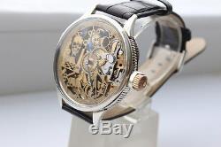 Man's Swiss Pocket Watch Omega Movement SKELETON Mason, Freemason, Masonic