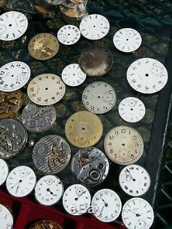 Massive Lot Of 60+ Antique Pocket Watch Movements Elgin, Waltham, Illinois