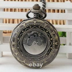 Men's Pocket Watch Rare Vintage Bronze Tourblllon Movement 24HR Sun Moon Dials