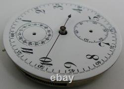 Montbrillant Valjoux pocket Watch 17 j. 3 adj. Chronograph Movement 2 registers