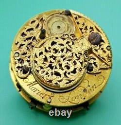 Morier, London, Rare Verge Repeater Pocket Watch Movement Circa 1730 (K33)