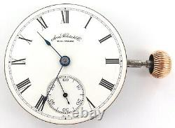 Nice 1888 Waltham 18s 11j Lever Set Mens Pocket Watch Movement, Dial & Crown