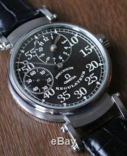 OMEGA mens Black Regulateur pocket watch conversion pre 1920 movement marriage
