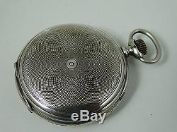 Old Longines Silver Hunter Pocket Watch High Grade Movement