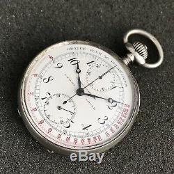 Old Ulysse Nardin Silver Pocket Watch Chronograph High Grade Movement