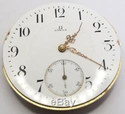 Omega High Grade Pocket Watch Movement 46.5 mm ticking to restore F566