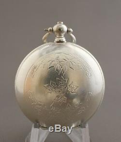 Ottoman Military Coat of Arms Silvered Roskopf Pocket Watch Engraved Movement