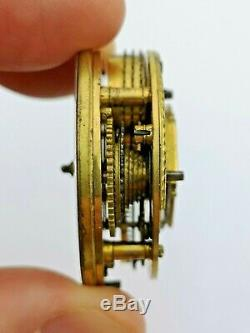 Painted Dial, London Maker Verge Fusee Pocket Watch Movement Ticks (R86)