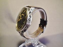 Patek Philippe & Co. Jumbo Stainless Steel Watch. Engraved Movement & Case