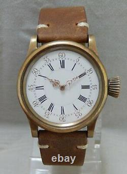 Patek Philippe Pocket Watch Movement In Hand Made Bronze 36mm Wrist Case c. 1883