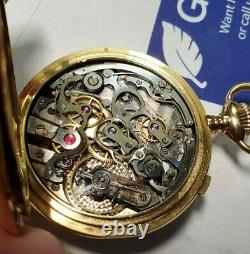 Patek quality Lecoultre movement 18K split second chronograph pocket watch