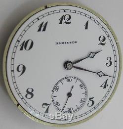 Pocket Watch Movement 12s hamilton 920 23 jewels 5 adj. Dial & hands OF
