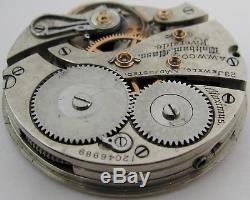 Pocket Watch Movement 16s Waltham Maximus Riverside 23 j. Adj. For parts. HC