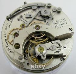 Pocket Watch Movement Waltham 1874 14s chronograph for project or parts. HC