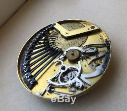 Pocket Watch Movement With repeater and music 1800s Cilinder No Fusee Or Verge