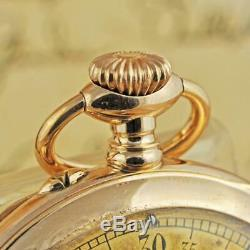 Pristine Vintage Modernista Rare Jump Hour Movement Gold Plated O/f Pocket Watch