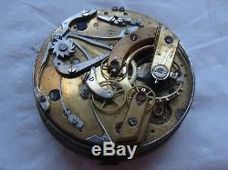 Quarter Repeater & Chronograph Pocket watch movement & enamel dial stem to 12