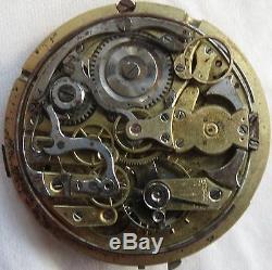 Quarter Repeater pocket watch movement & enamel dial balance Ok. Stem to 12