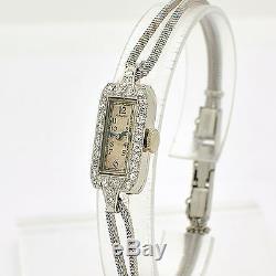 RARE Vintage Gruen Platinum Diamond Ladies Watch Hand-Writing Movement WL1820
