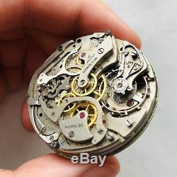 RARE WWII CHRONOGRAPH HAMILTON Movement Military Pocket Watch Model23 Mechanism